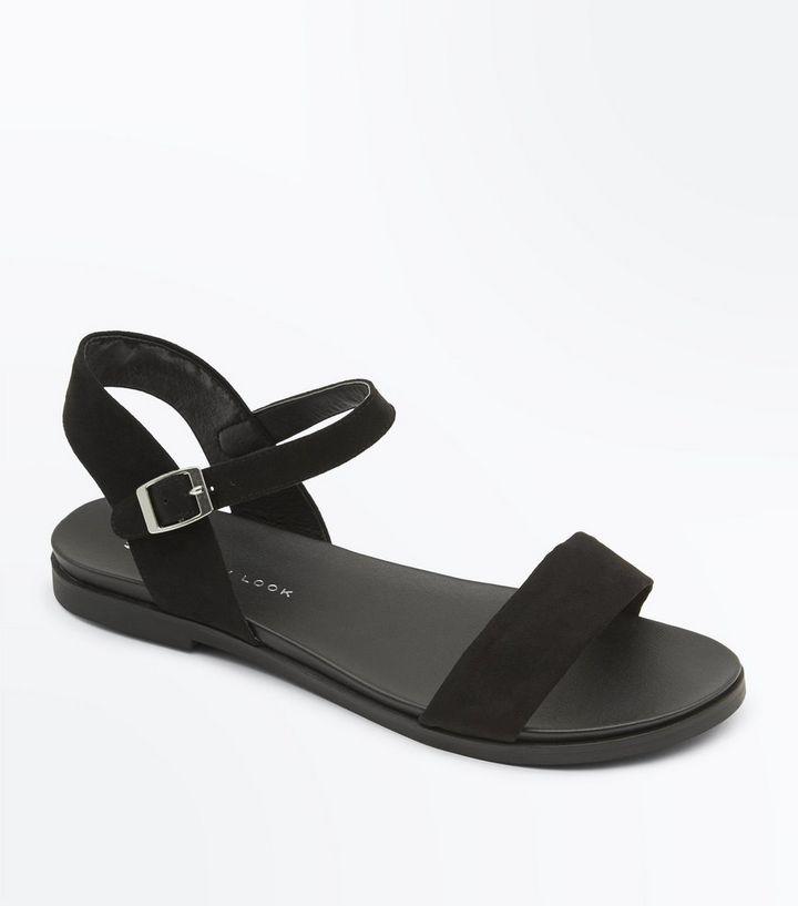 negozio ricetta Sfondo verde  Wide Fit Black Suedette Flat Sandals | New Look