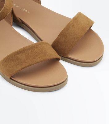 Wide Fit Tan Suedette Flat Sandals New Look