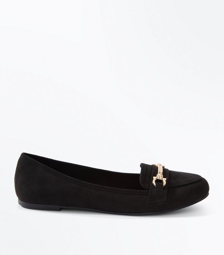 e50696e33a1a9 Black Suedette Bar Front Loafers | New Look