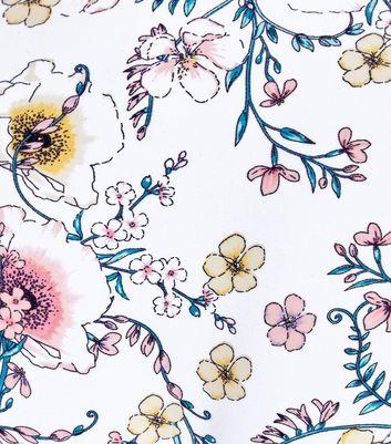 White Floral Print Metallic Ring Front Bikini Top New Look