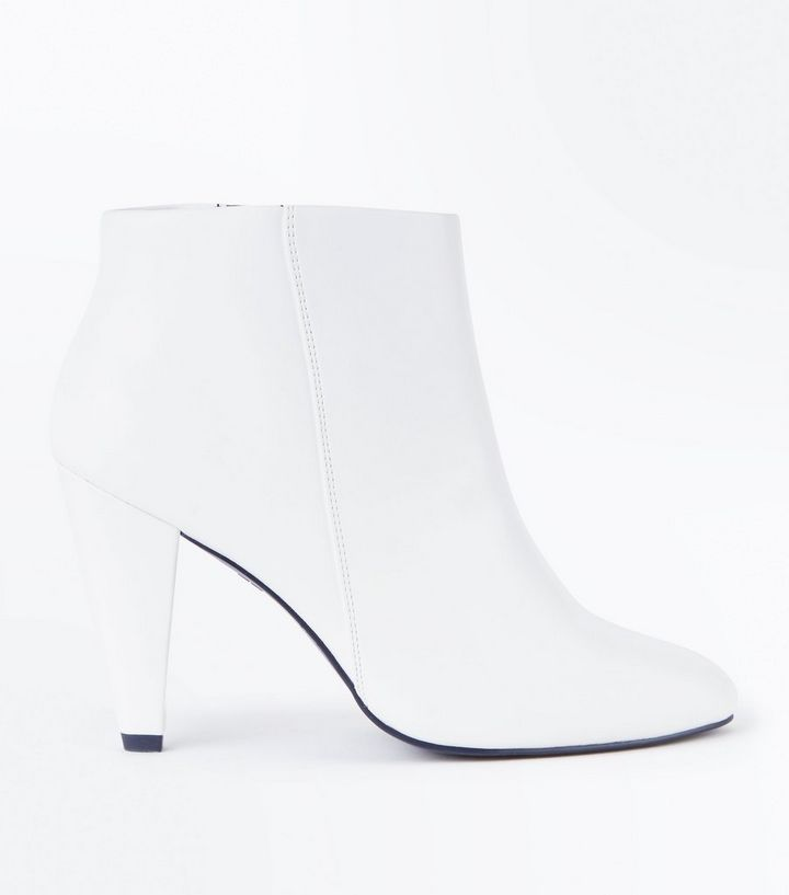 a57d6836 Wide Fit White Cone Heel Ankle Boots | New Look