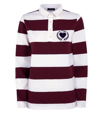Burgundy Stripe Heart Logo Rugby Shirt New Look