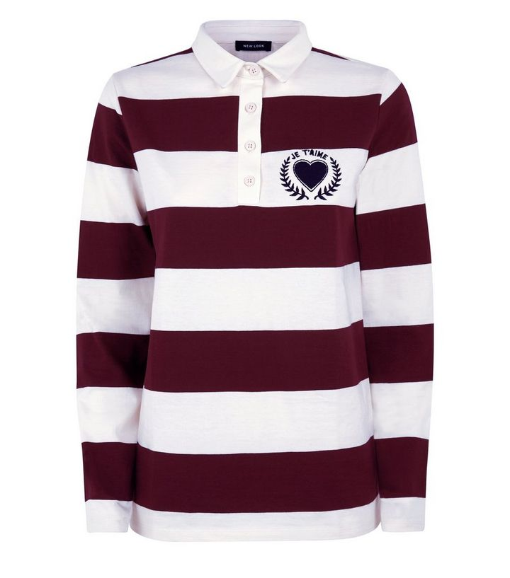 b29661ff1c7a Burgundy Stripe Heart Logo Rugby Shirt