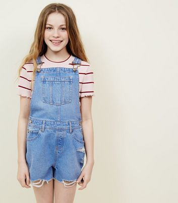 Girls Bright Blue Denim Dungarees