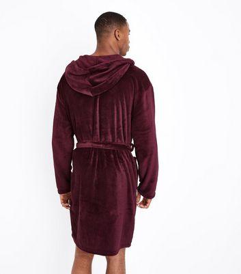 Burgundy Hooded Robe New Look