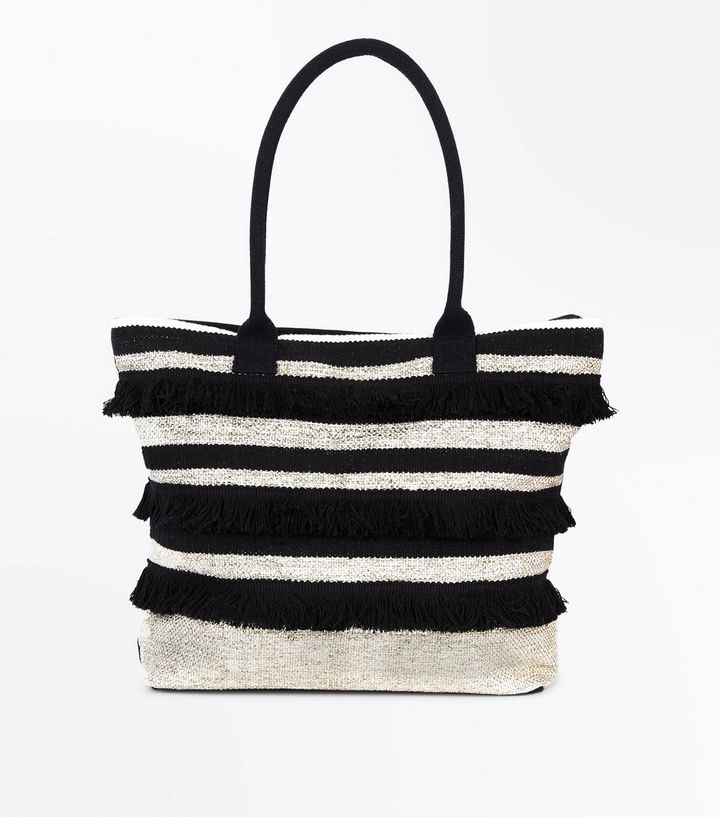 fe066b7da76 Black Metallic Stripe Fringed Shopper Bag | New Look