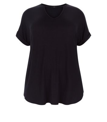 Curves Black Choker Neck T-Shirt New Look