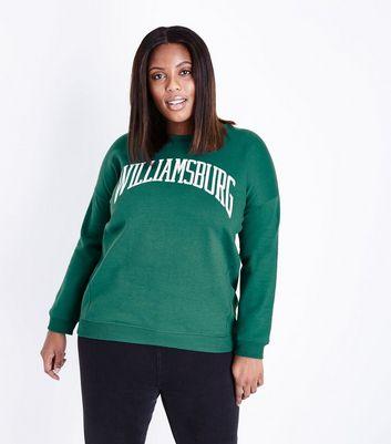 Curves Dark Green Williamsburg Print Sweatshirt New Look