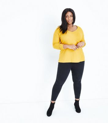 Curves Mustard  Batwing Sleeve Fine Knit Top New Look