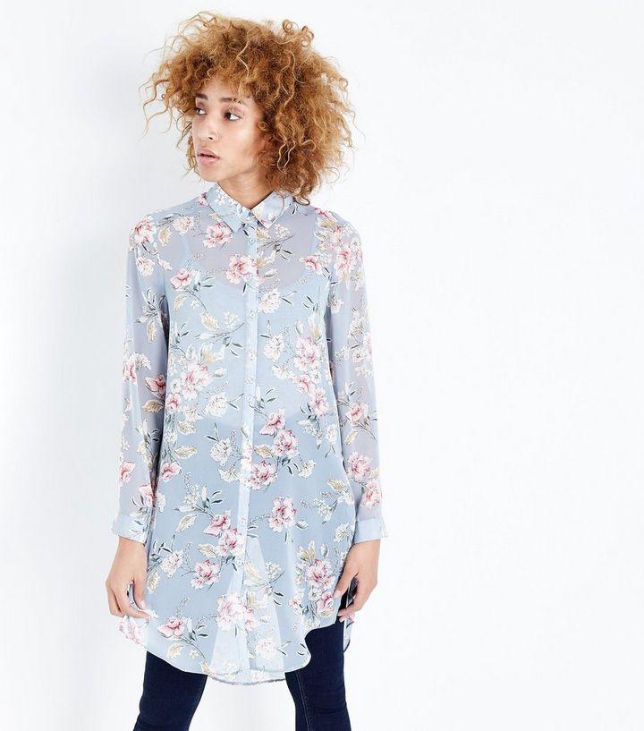 37e0865e2cf0c8 Blue Floral Print Longline Chiffon Shirt