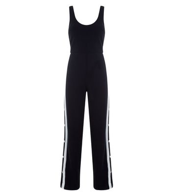 Cameo Rose Black Popper Side Jumpsuit New Look