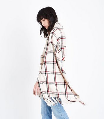 White Check Chenille Scarf New Look