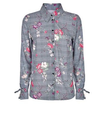Innocence Black Floral Check Tie Sleeve Shirt New Look