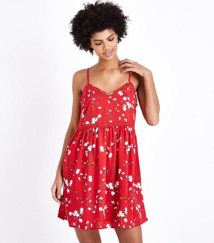 375fe75c7e5 Red Floral Crochet Trim Sundress