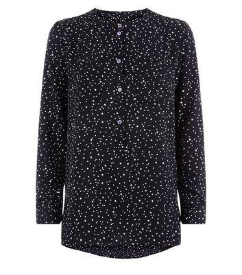 JDY Black Star Print Long Sleeve Blouse New Look