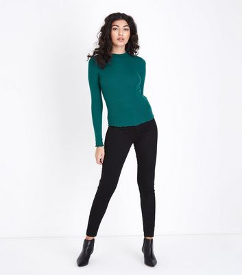 Green High Neck Ribbed Long Sleeve Top New Look