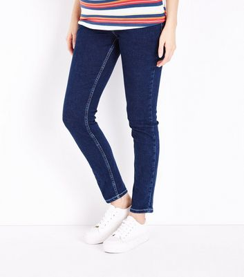 Maternity Navy Contrast Stitch Over Bump Skinny Jeans New Look