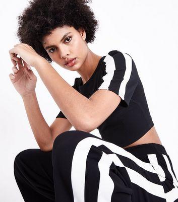 Cameo Rose Black Stripe Sleeve Crop Top New Look