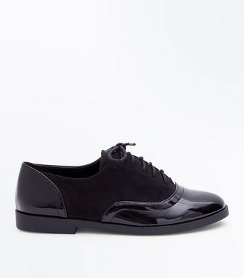 Girls Black Patent Panel Lace Up Brogues
