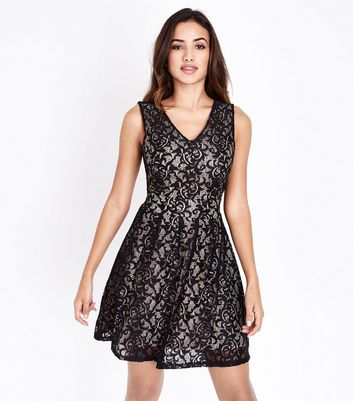 Mela Black Lace V Neck Dress