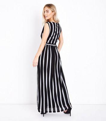 Mela Black Stripe V Neck Maxi Dress New Look