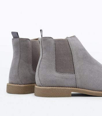 Pale Grey Faux Suede Chelsea Boots