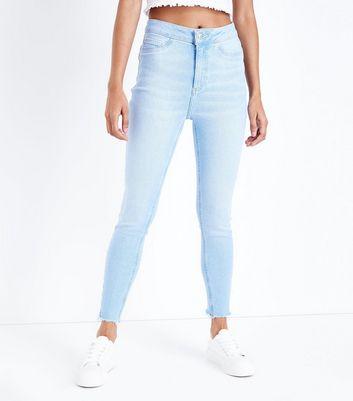 Petite Pale Blue Fray Hem Skinny Jeans New Look