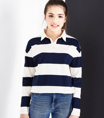 Teens Navy Stripe Rugby Shirt New Look
