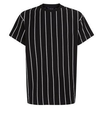 Black Vertical Stripe Print T-Shirt New Look