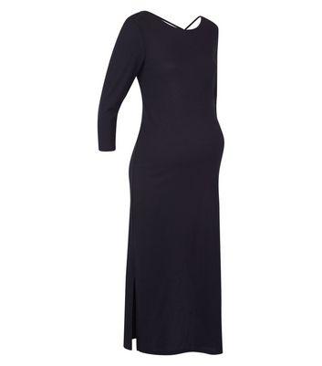 Maternity Black Cross Back Ribbed Midi Dress New Look
