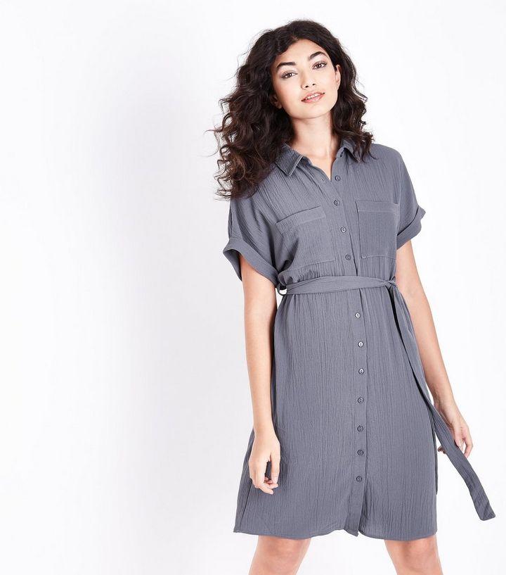 a5d210b577915 Dark Grey Belted Shirt Dress | New Look