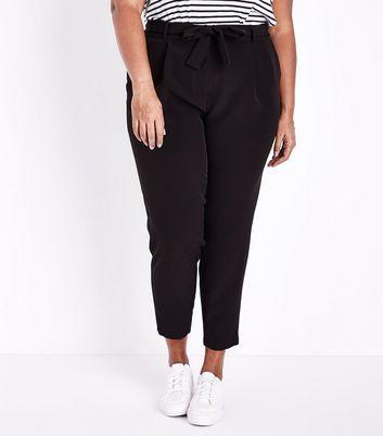 Curves Black Tie Waist Slim Leg Trousers New Look