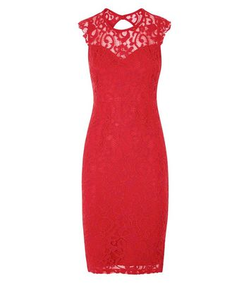 AX Paris Red Lace Sleeveless Midi Dress New Look