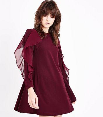 AX Paris Burgundy Frill Long Sleeve Swing Dress New Look