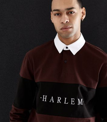 Burgundy Harlem Embroidered Rugby Top New Look