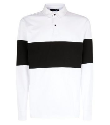 White Colour Block Stripe Rugby Top New Look
