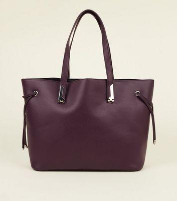Purple Tie Side Tote Bag by New Look