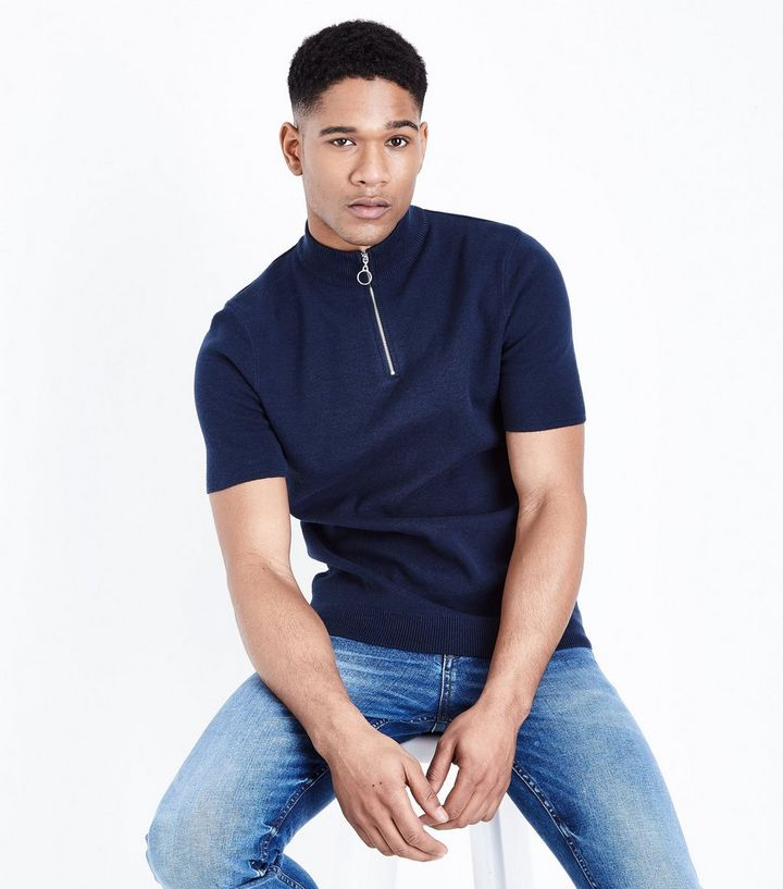 catch good selling hot-selling professional Navy Half Zip Short Sleeve Jumper Add to Saved Items Remove from Saved Items