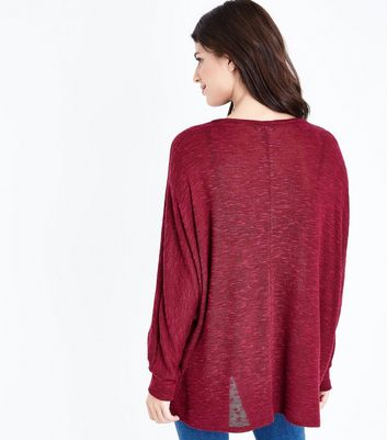 Burgundy Fine Knit Batwing Jumper New Look