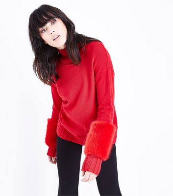 Cameo Rose Red Faux Fur Sleeve Jumper New Look