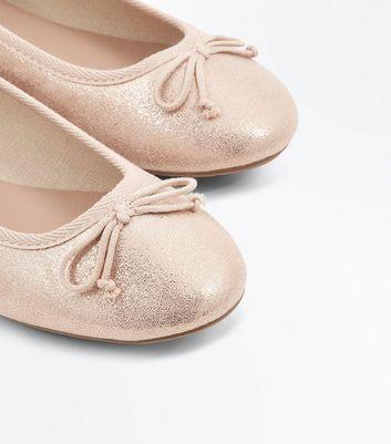 Rose Gold Metallic Shimmer Ballet Pumps New Look