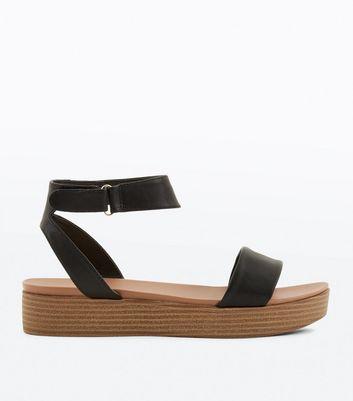Black Wooden Flatform Sandals | New Look