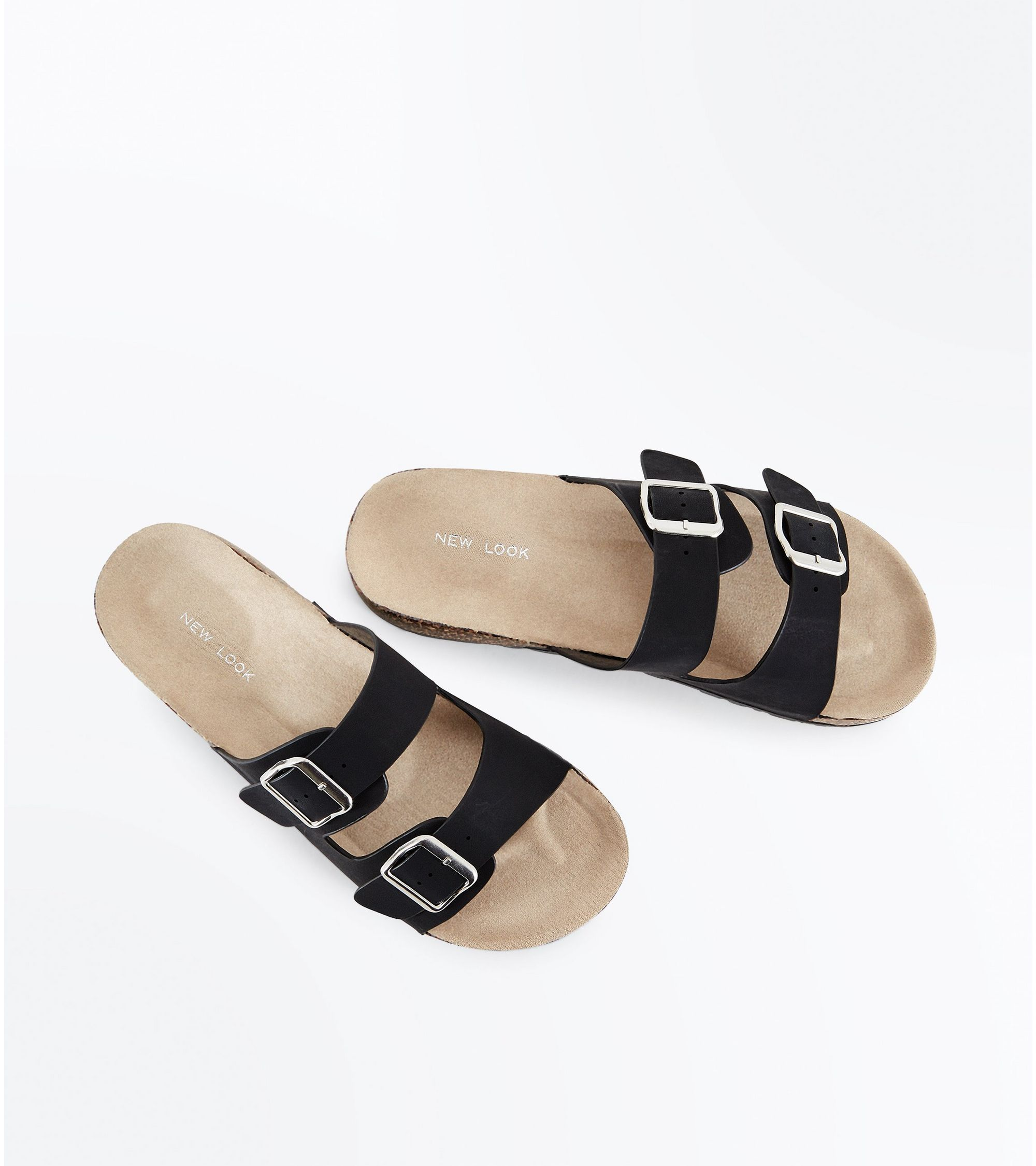 d5de2f10027b New Look Black Double Buckle Strap Footbed Sandals at £12.99