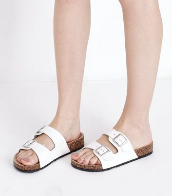 White Double Buckle Strap Sliders New Look