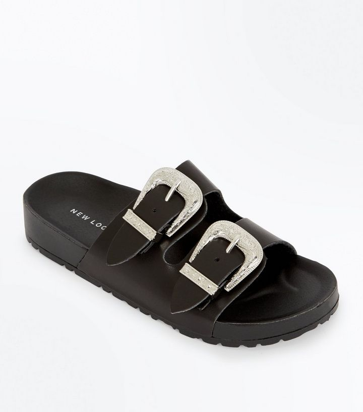 special section best sell hot new products Black Western Buckle Sliders | New Look