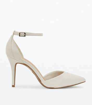 White Comfort Flex Ankle Strap Pointed Heels