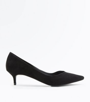 Black Suedette V Front Pointed Kitten Heels