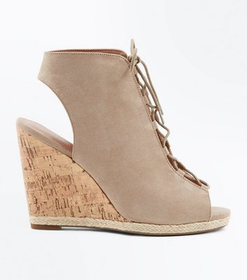 Light Brown Suedette Ghillie Wedges