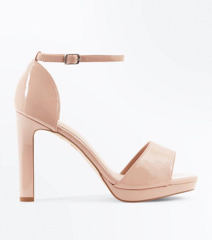ffb26cc7467f2 Nude Patent Platform Block Heel Sandals | New Look