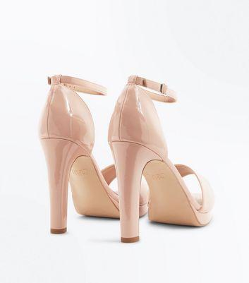 Nude Patent Platform Block Heel Sandals New Look